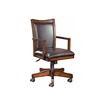 Amazoncom Office Star Deluxe Wood Bankers Desk Chair with Brown