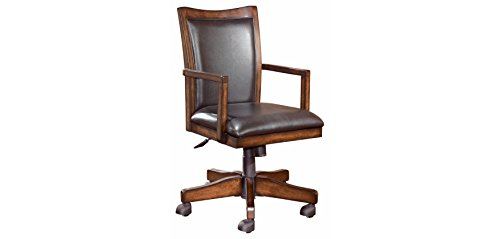 Wood Office Chair (Ashley Furniture Signature Design - Hamlyn Home Office Desk Chair - Faux Leather Swivel Chair - Medium Brown)