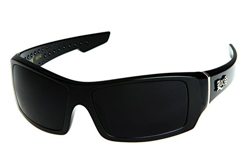 Locs Men's Rectangular Hardcore Black Wrap 63mm Sunglasses (Cursive - Logo A Sunglasses