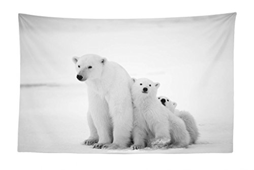 Lunarable Sea Animals Tapestry, Polar Bear Family with Two Small Bear Cubs Around The Snow Cold Winter North, Fabric Wall Hanging Decor for Bedroom Living Room Dorm, 45 W X 30 L Inches, Pale Grey