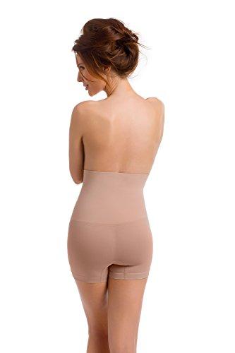 Envie® Damen-Shaping-Panty figurformend und hochtailliert für einen flachen Bauch und Po, ohne Seitennähte - (Made In Italy) Natur L - 40 EU