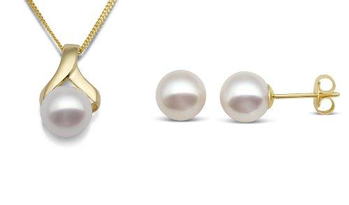 Miore - MSET007 - Parure Collier et Boucles d'Oreille Femme - Perle d'eau douce