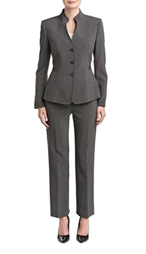 Tahari ASL Pete Three-Button Pant Suit, 4, Grey (Button Asl Tahari 3)