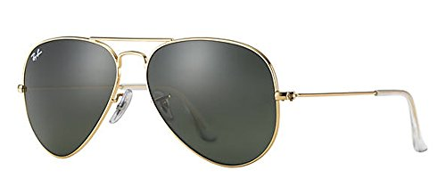Ray Ban RB3025 Aviator Sunglasses Unisex (58 mm Gold Frame Solid Black G15 - Sunglasses Gold Black And Ray Ban