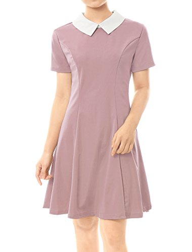 Allegra K Women's Contrast Doll Collar Short Sleeves Flare Dress S -