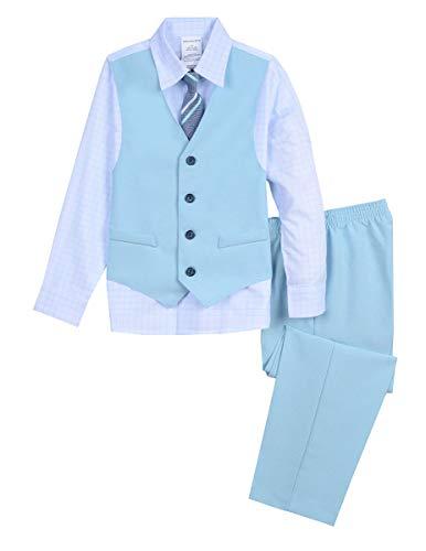 Van Heusen Boys' Little 4-Piece Formal Dresswear Vest Set, Teal Pearl - Teal Pearl Set