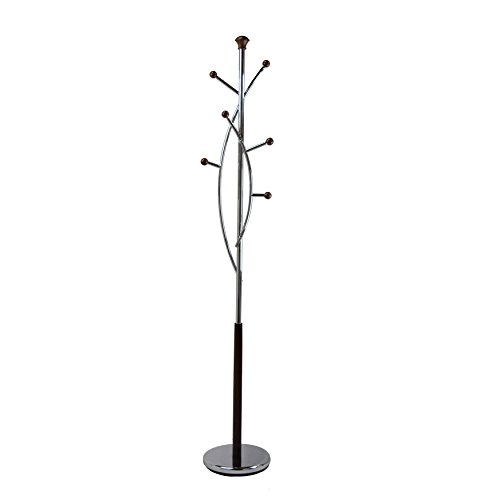 Proman Products CT17018 Silvertree Coat Rack Entryway Storage, Chrome Steel/Walnut Wood Finish, 11.5