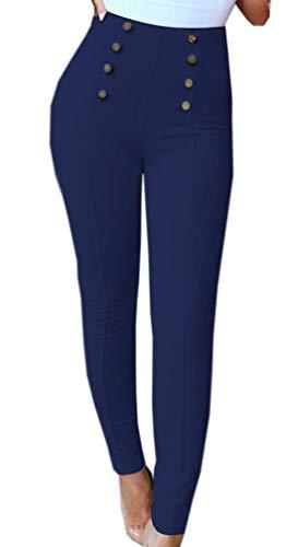 Pantalon Mode Royal Bleu Taille mode Maigre Long Crayon Leggings Simple Daim Jeune Haute Femmes wgtEqH