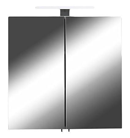 Homexperts Spiegelschrank SHARPCUT / Eleganter Badezimmerschrank mit Spiegel 60 cm / Warmton LED-Beleuchtung & Steckdose / We