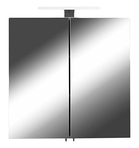 Spiegelschrank Sharpcut Bad / Eleganter Badezimmerschrank Mit Spiegel /  Inkl. Warmton LED Beleuchtung Und Steckdose / Weiß / 20 X 60 X 60 Cm (T X B  X H): ...