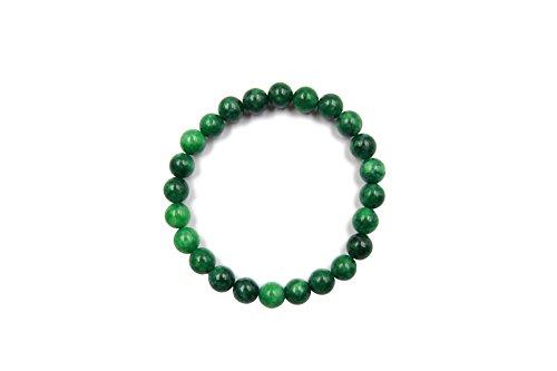 Stunning Green Jade Bracelet - EVE SUN Jade Bracelet Natural Gems Jewelry Handmade Beaded Heal 8mm Stretch Bracelet (Green-Jade)