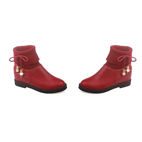 AgooLar Women's Low-top Solid Pull-on Closed Round Toe Kitten-Heels Boots Red 1bx6J