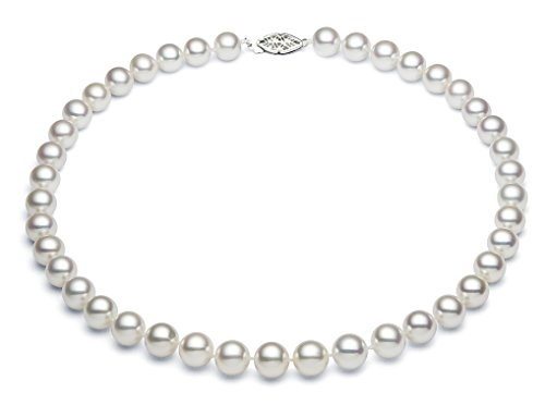 8.5-9.5mm Sterling Silver White Freshwater Cultured Pearl Necklace AA+ Quality, 18'' by Premium Pearl, Inc