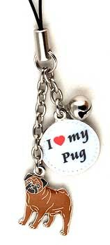 Pug Dog Cell Phone Charm