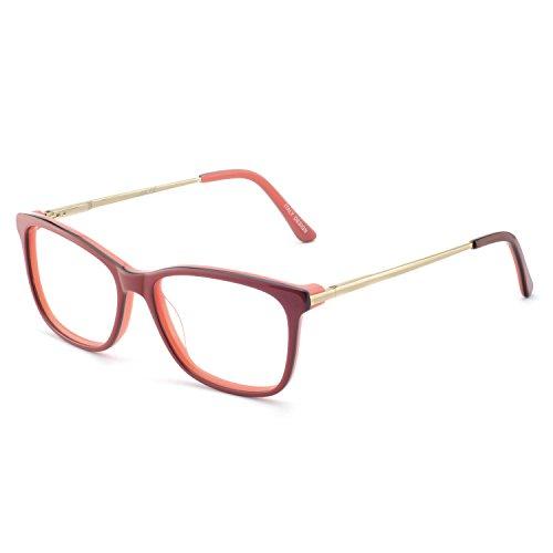 OCCI CHIARI Women Eyeglasses Frame Rectangular Acetate Colorful with Anti-blue Light Lens(Red,54)