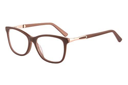 SHINU Acetate Cateye Frame Progressive Multifocus Anti Blue Light No Headach Reading Glasses-RD142(brown, anti-blue up 0 down 2.50)