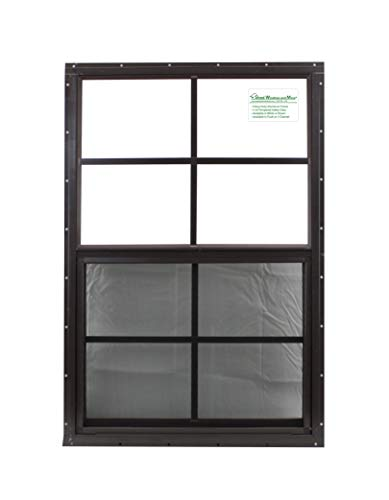 - 21 X 27 Shed Window Safety Glass Storage Shed Garages Playhouse Tree House (Brown Flush)