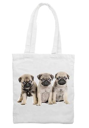 Pug Dog Puppies Shoulder - Shopping Bag: Amazon.co.uk: Clothing