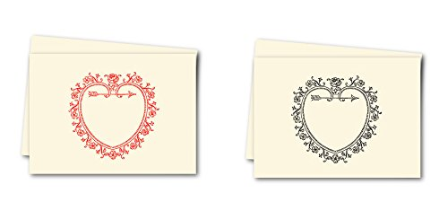 (K DESIGNS - HAND MADE STATIONERY - VALENTINES SAMPLER - FOLD OVER NOTE CARDS - Artist Designed Vintage Valentines Image From The K Design Collection Artist's