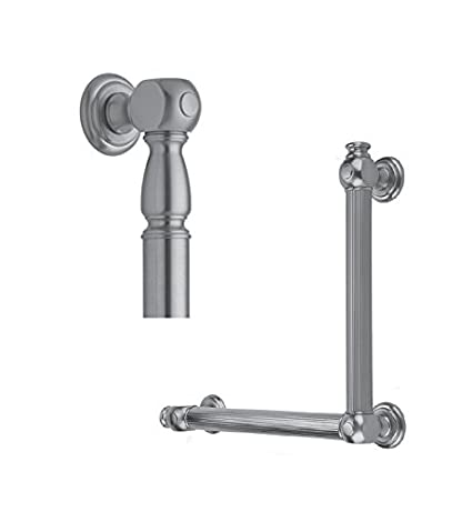 Satin Gold Jaclo G20-16H-12W-LH-PN 90 Degree Smooth with Finials Grab Bar with Left-Hand Configuration