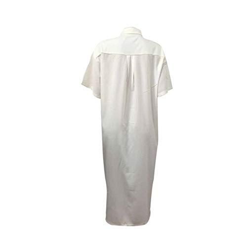 Manches Couleur Poche Chemise Femmes de lache Le Courtes vers Tunique de Bas Longue White Bouton Bloc Chemisier wx50gCcz