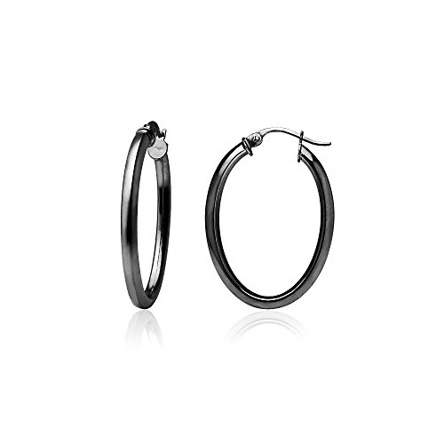 Black Flashed Sterling Silver 2mm Oval Square-Tube Hoop Earrings, 20mm 2mm Square Tube Hoop Earrings