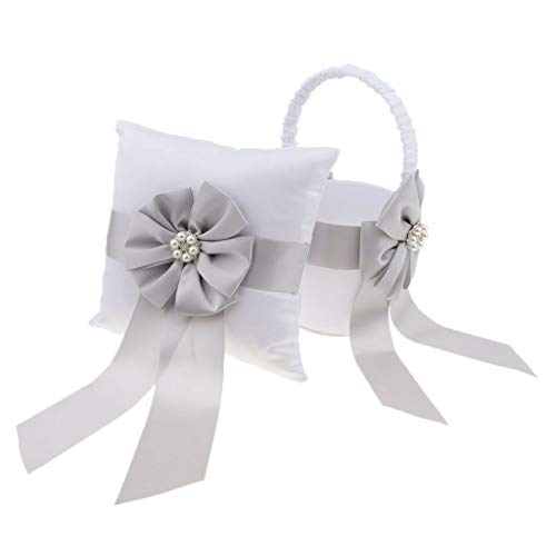 Wedding Grey Satin Bowknot Flower Basket Ring Pillow Wedding Day Accessory