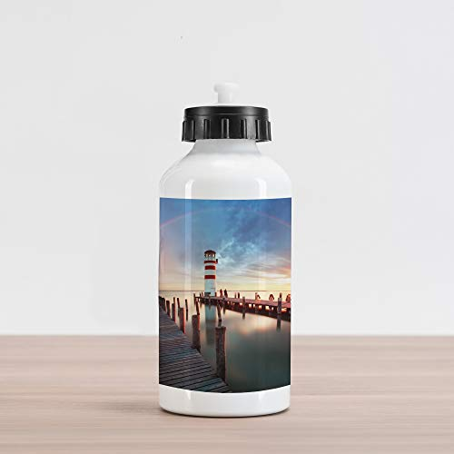 Ambesonne Lighthouse Aluminum Water Bottle, Sunset at Seaside Wooden Docks Lighthouse Clouds Rainbow Waterfront Reflection, Aluminum Insulated Spill-Proof Travel Sports Water Bottle, Multicolor ()