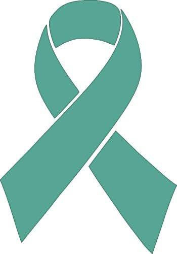 Barking Sand Designs Ovarian Cancer Ribbon Awareness Teal- Die Cut Vinyl Window Decal/Sticker for Car/Truck