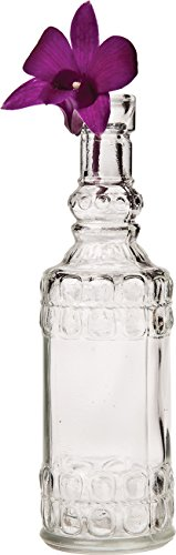 Luna Bazaar Small Vintage Glass Bottle (6.5-Inch, Calista Cylinder Design, Clear)- Flower Bud Vase - for Home Decor and Wedding Centerpieces ()