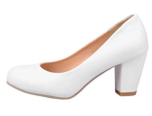 Easemax Women's Elegant Round Toe Low Cut High Block Heel Pumps Shoes White 8.5 B(M) US -