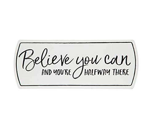 Wisechoice Distressed Quotes Wall Art Decor Metal Sign with Believe You Can and You're Halfway There Word Engraved, 4.3 Inch L x 11 Inch W