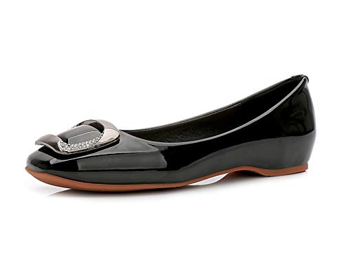 Spring Woman Flats Square Toe Slip on Flat Shoes Patent Leather Boat Shoes Crystal Comfortable Shoes H8041,Black,36 ()