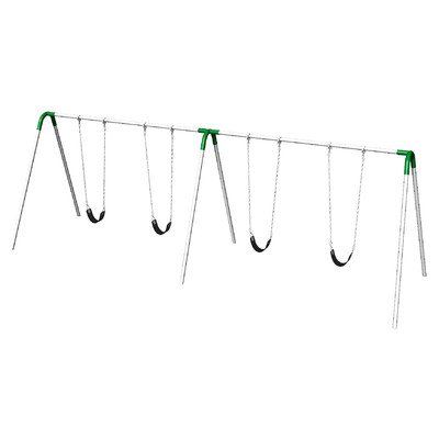 UPlay Today Double Bay Swing Set with Commercial Strap Seats Color: Green