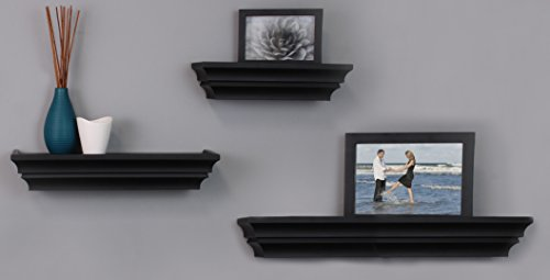 nexxt Madison Contoured Wall Ledges, 12 Inch, 16 Inch, 24 Inch, Black, Set of 3 (Decor Home Wall Shelves)