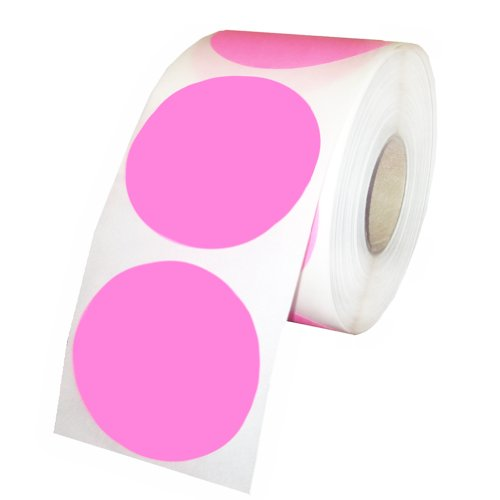 Pink Round Color Coding Inventory Labeling Dot Labels / Stickers - 1.5 Inch Round Labels 500 Stickers Per Roll