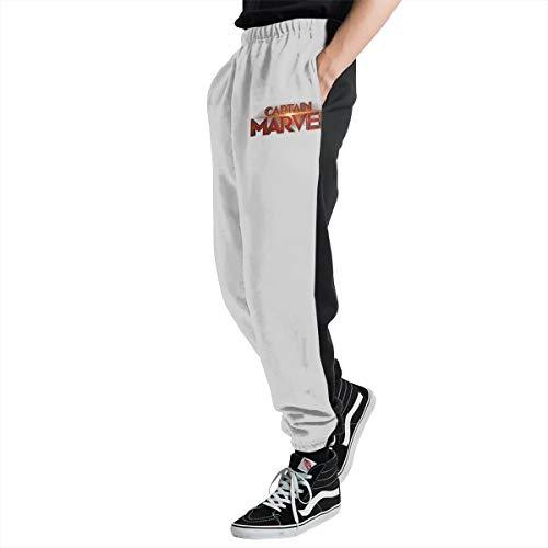Cap-Tain Mar-vel Logo Men's Casual Jogger Sweatpants Sports Trousers Pant Elastic Waist M -