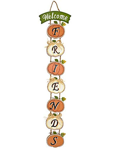 Fall Autumn Door or Wall Sign Hanging Pumpkin Decoration (Welcome (Pumpkin Welcome Sign)