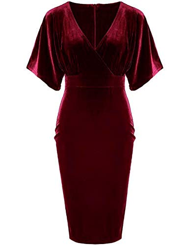 GownTown 1950s Style Butterfly Sleeve Velvet Pencil Dress Dark Red