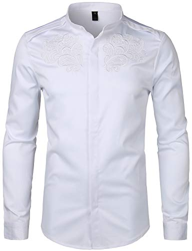 Paisley Embroidery - ZEROYAA Men's Hipster Paisley Embroidery Slim Fit Long Sleeve Mandarin Collar Shirts ZHCL14 White Small