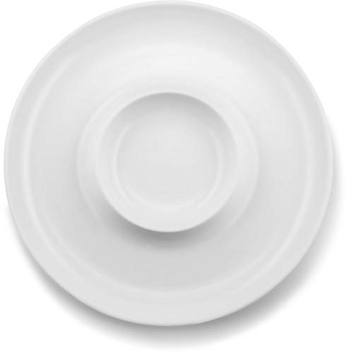KooK Chip & Dip Ceramic Serving Dish Bowl, White, Perfect for Superbowl Parties - 13 Inch -