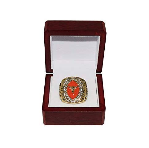Nine Culture University of Texas Longhorns (Coach Mack Brown) 2005 Rose Bowl National Champions Rare Collectible Replica Football Gold Championship Ring Size 11 with A Wooden Box