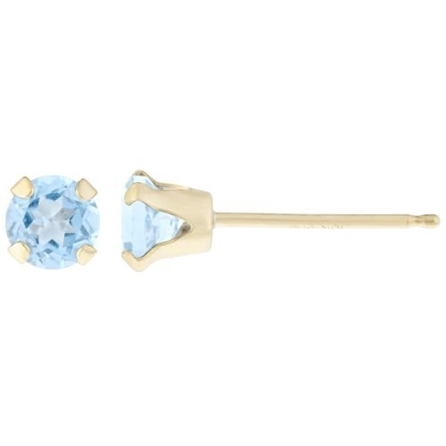 .90 CT Round 5MM Blue Aquamarine 14K Yellow Gold Stud Birthstone Earrings 14k Yellow Gold Pierced Earrings