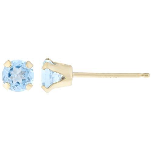 .20 CT Round 3MM Blue Aquamarine 14K Yellow Gold Stud Birthstone Earrings