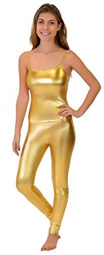 Stretch is Comfort Women's Camisole Unitard Dancewear Gymnastics Catsuit Spaghetti Strap Metallic Gold (Comfort Camisole)