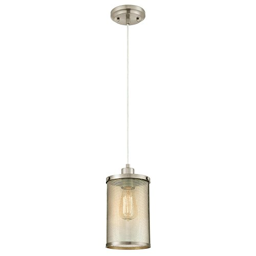 Contemporary Brushed Nickel 1 Light Pendant in Florida - 9