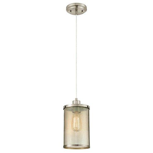 Westinghouse Lighting 6345300 One-Light Mini Pendant Brushed Nickel Finish with Mesh Shade,