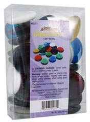 Jennifer's Mosaics Color Variety 1-1/4-Inch Large Glass Gems, Assorted Colors, 1-Pound - Gems Variety Pack