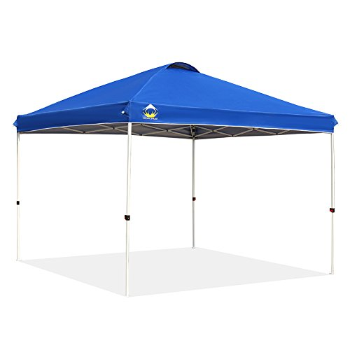 Crown Pull - CROWN SHADES Patented 10ft x 10ft Outdoor Pop up Portable Shade Instant Folding Canopy with Carry Bag, Blue