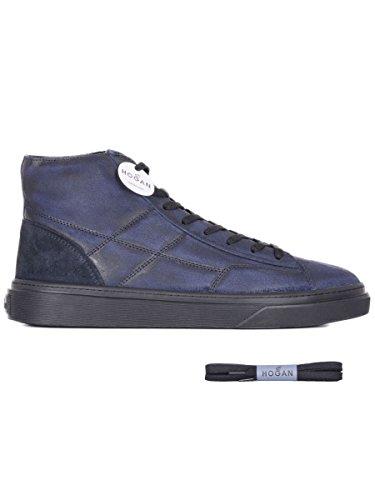 Hogan Men's Hxm3400j560htq297q Blue Leather Hi Top Sneakers